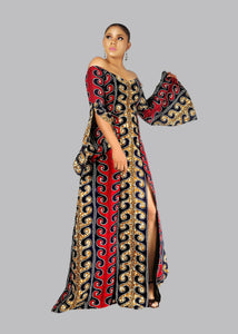 NEW IN Imani African print Ankara maxi dress with double slit - Afrothrone