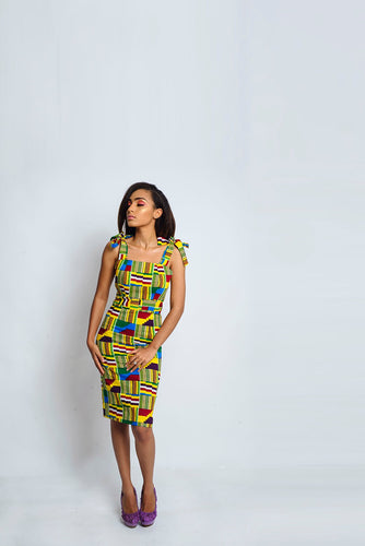 Lily African Print Kente dress - Afrothrone