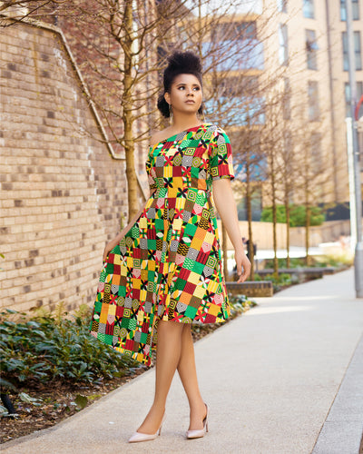 Mori African Print Asymmetrical Dress
