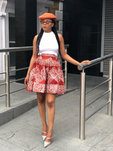Load image into Gallery viewer, Akosua African print Batik skater skirt - Afrothrone