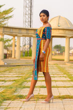 Load image into Gallery viewer, NEW IN Akwete African print wax kente and Ankara mix midi dress - Afrothrone