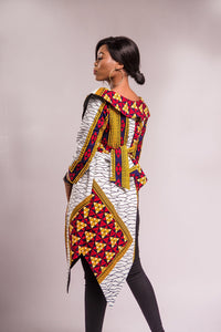 NEW IN MONIQUE Asymmetrical African print wrap jacket top - Afrothrone