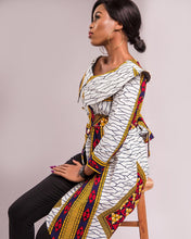 Cargar imagen en el visor de la galería, NEW IN MONIQUE Asymmetrical African print wrap jacket top - Afrothrone
