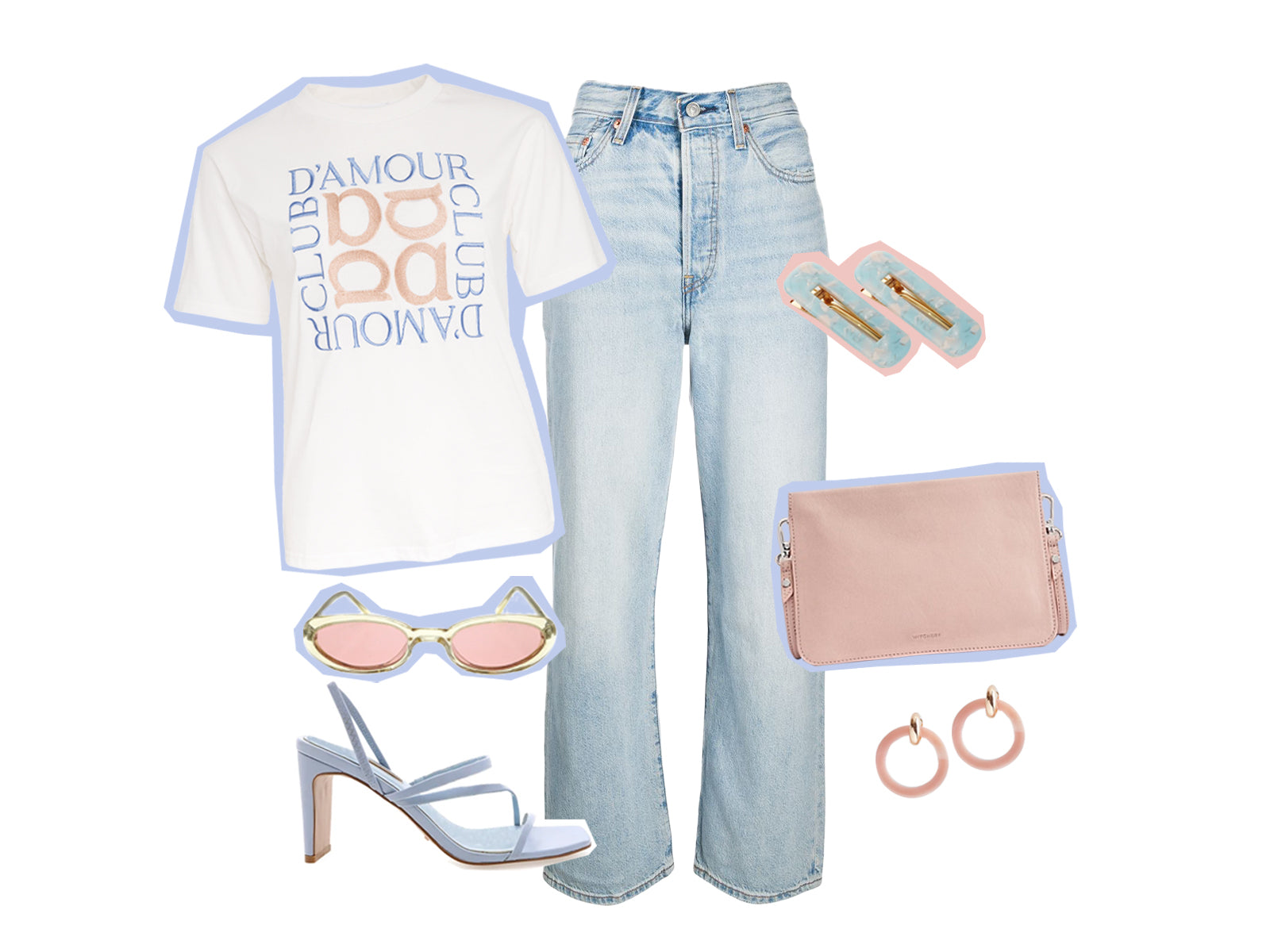 Alpha Embroidered Logo Tee, denim jeans, heels and accessories