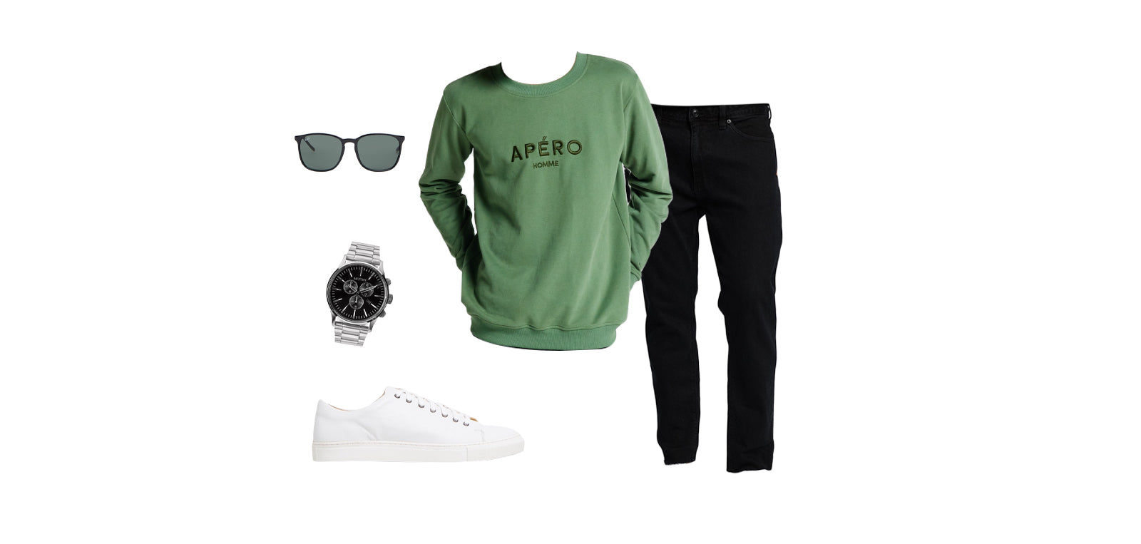 Apéro Homme Embroidered Jumper in Forest Green