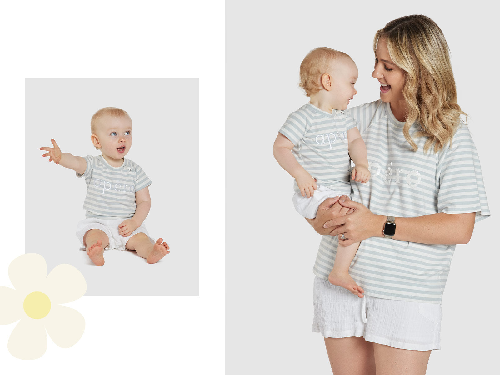 white blue striped embroidered baby tee