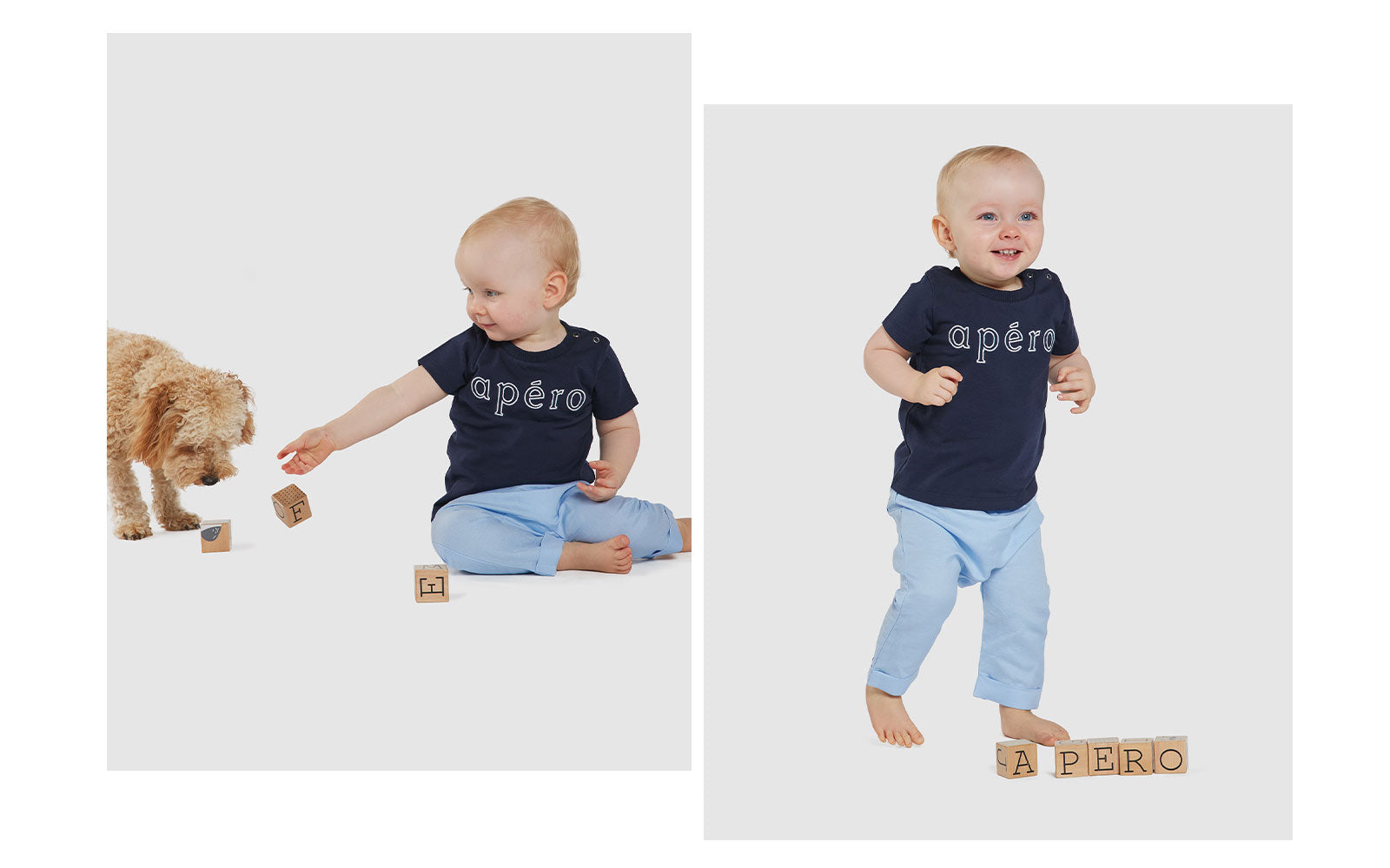 Outline navy embroidered baby tee apero