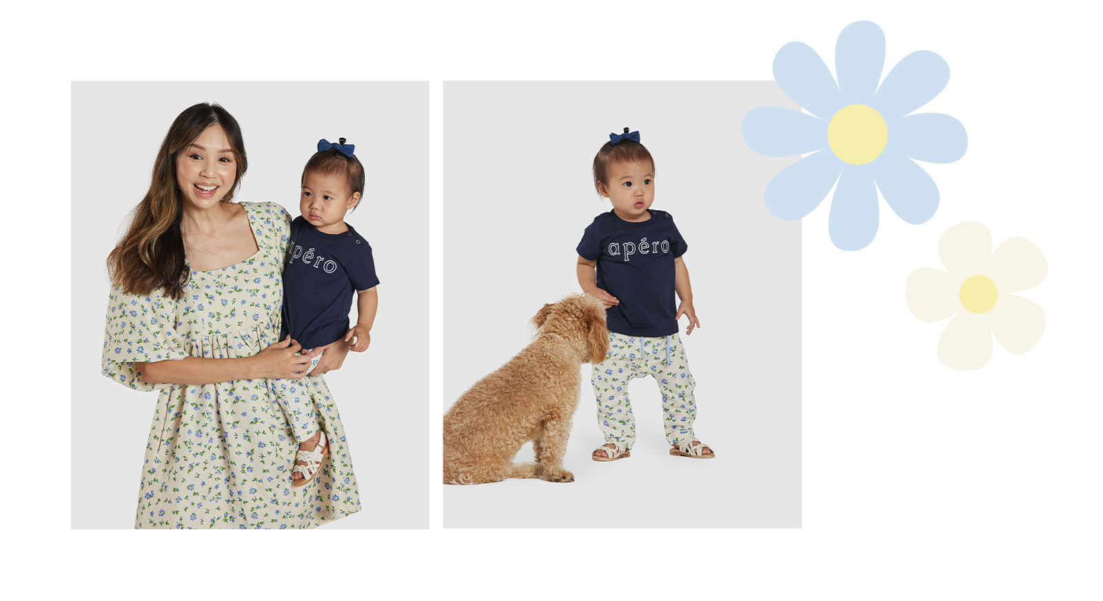 Ava linen baby pants floral