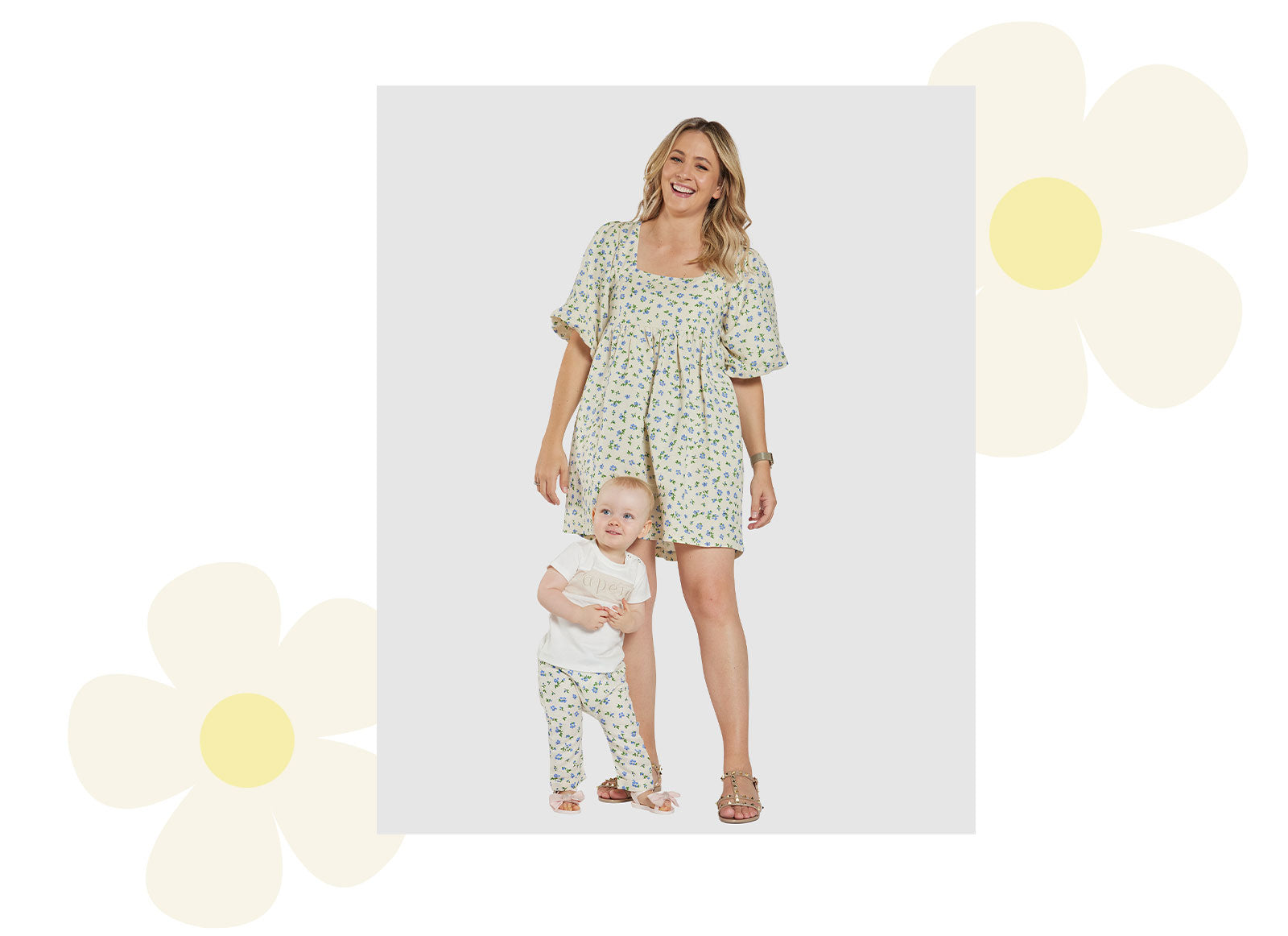 Ava Linen Floral Baby Pants