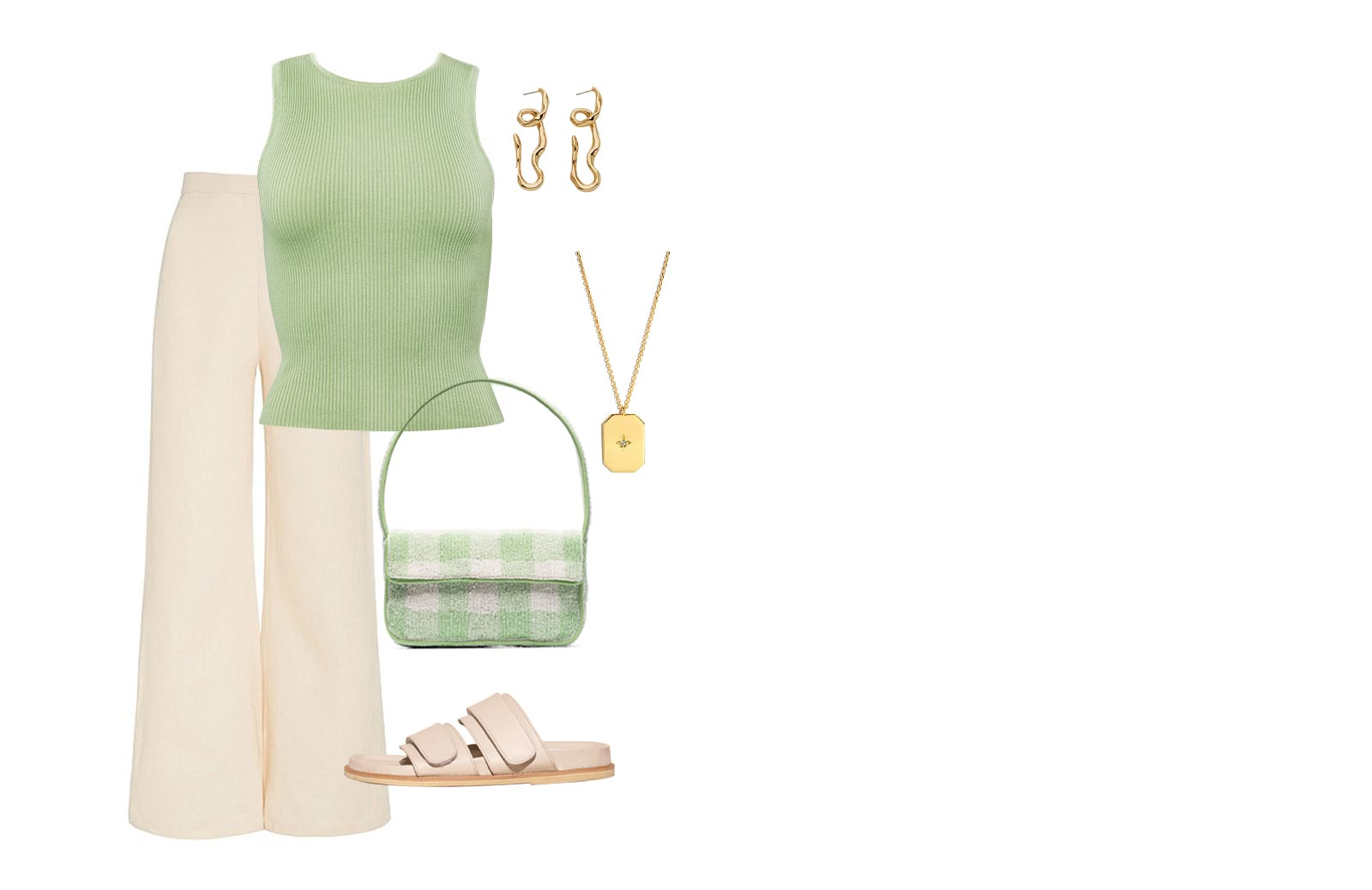 ESMÉE RIBBED TANK TOP- SAGE GREEN