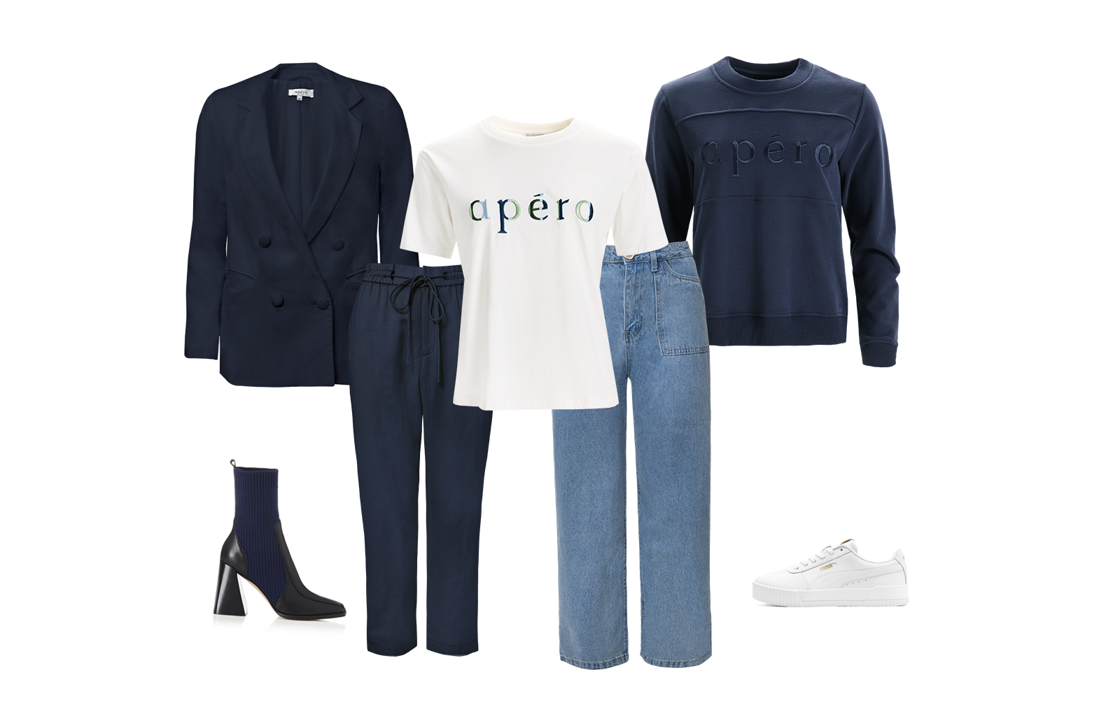 Journey Embroidered Tee and Navy Embroidered Panel Jumper