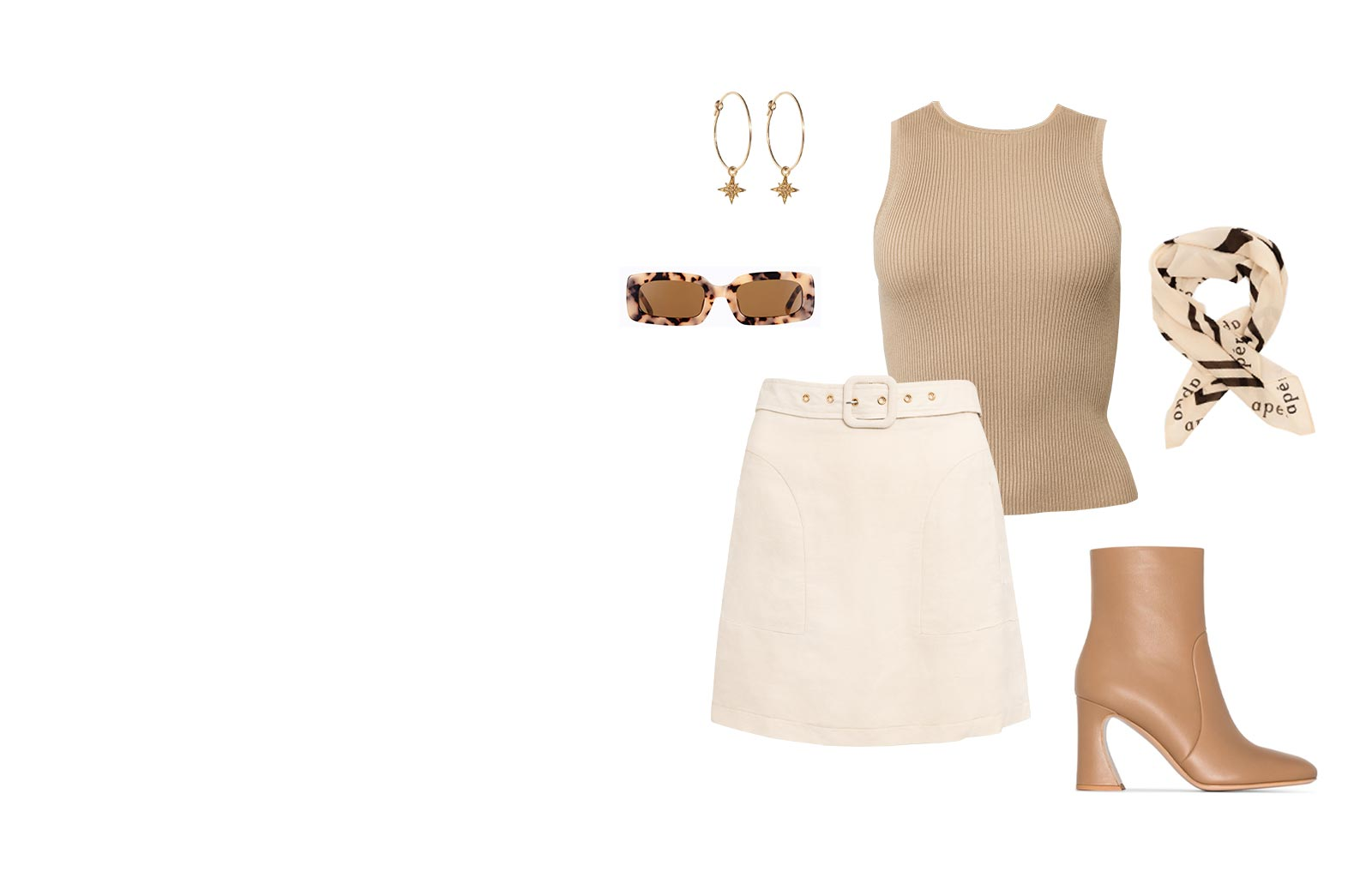 Esmee Ribbed Tank Top and Amour Linen Skirt