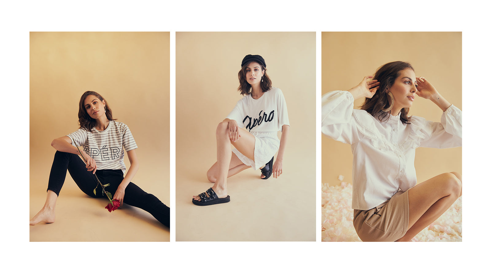 Opening Spring Collection wearing logo tees, skirts, shirts and shorts