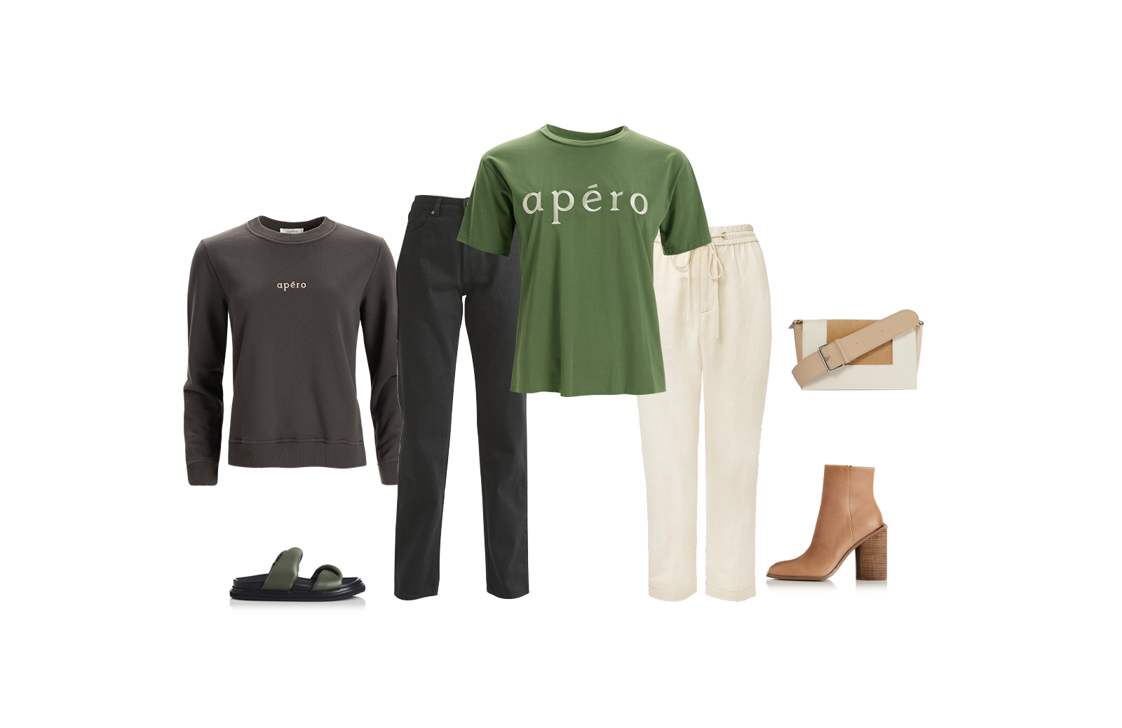 Apéro Embroidered Tee - Forest Green and Mini Embroidered Jumper - Charcoal