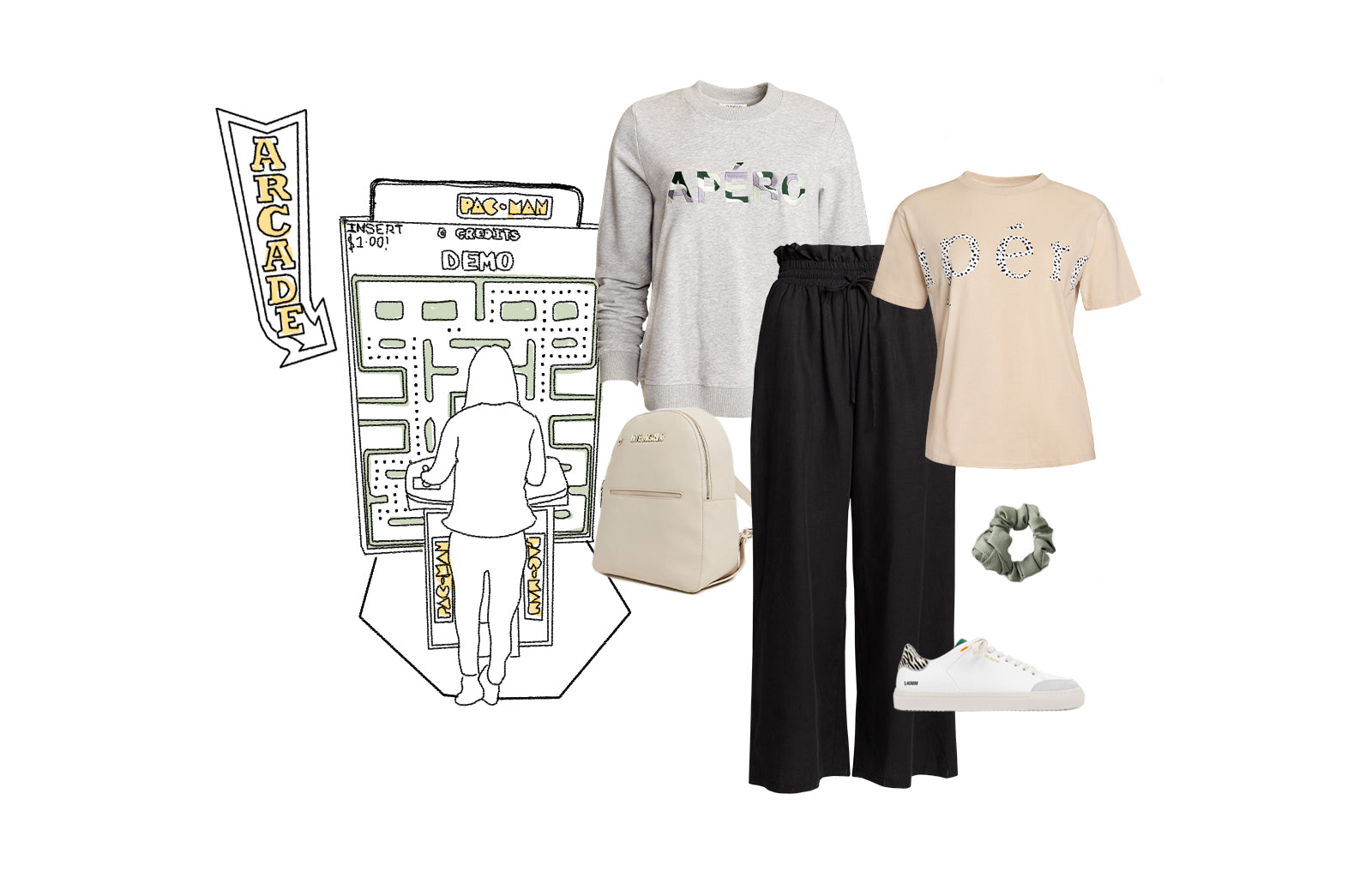 Lara Tencel Wide Leg Pants, Wilderness Printed Tee and Electric Embroidered Jumper
