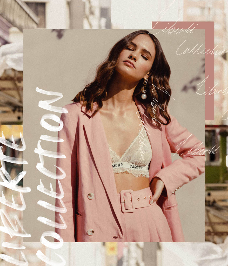 Pink linen blazer fashion set
