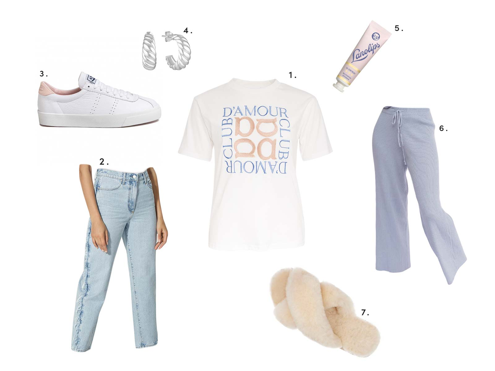 Winter Styling Apero embroidered logo tee, denim pants, sneakers and more