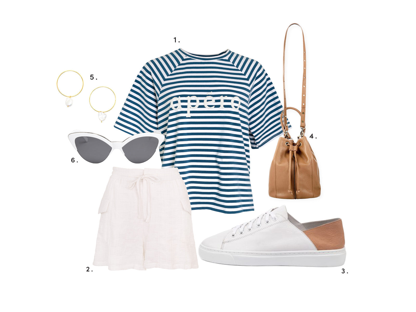 the expecting mum outfit with the Multi Striped Oversized Logo Tee, Capri Drawstring Shorts and accessories