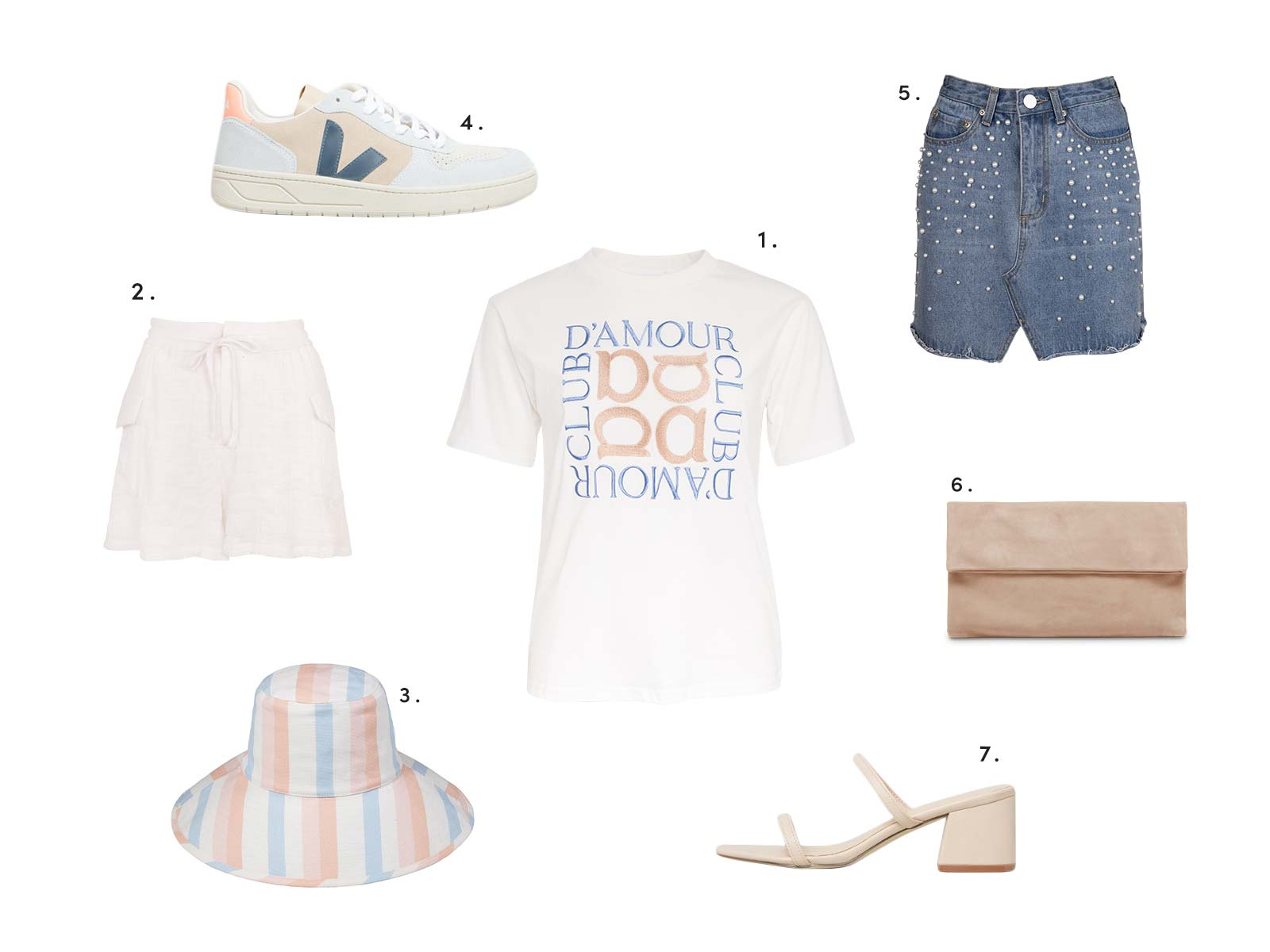 Summer Styling with Apero Embroidered Tee, capri drawstring shorts, pearl denim skirt and more