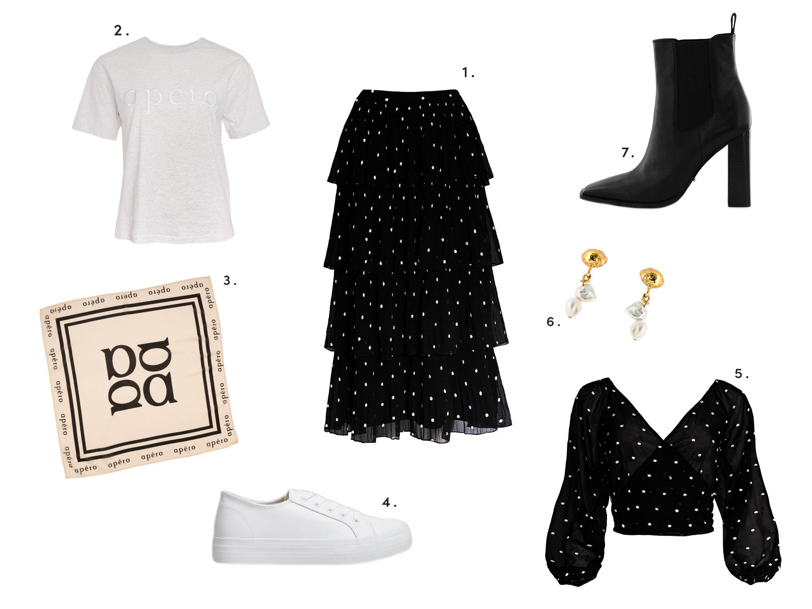 Winter Styling Look with frill skirt embroidered apero logo tee hair scarf and more