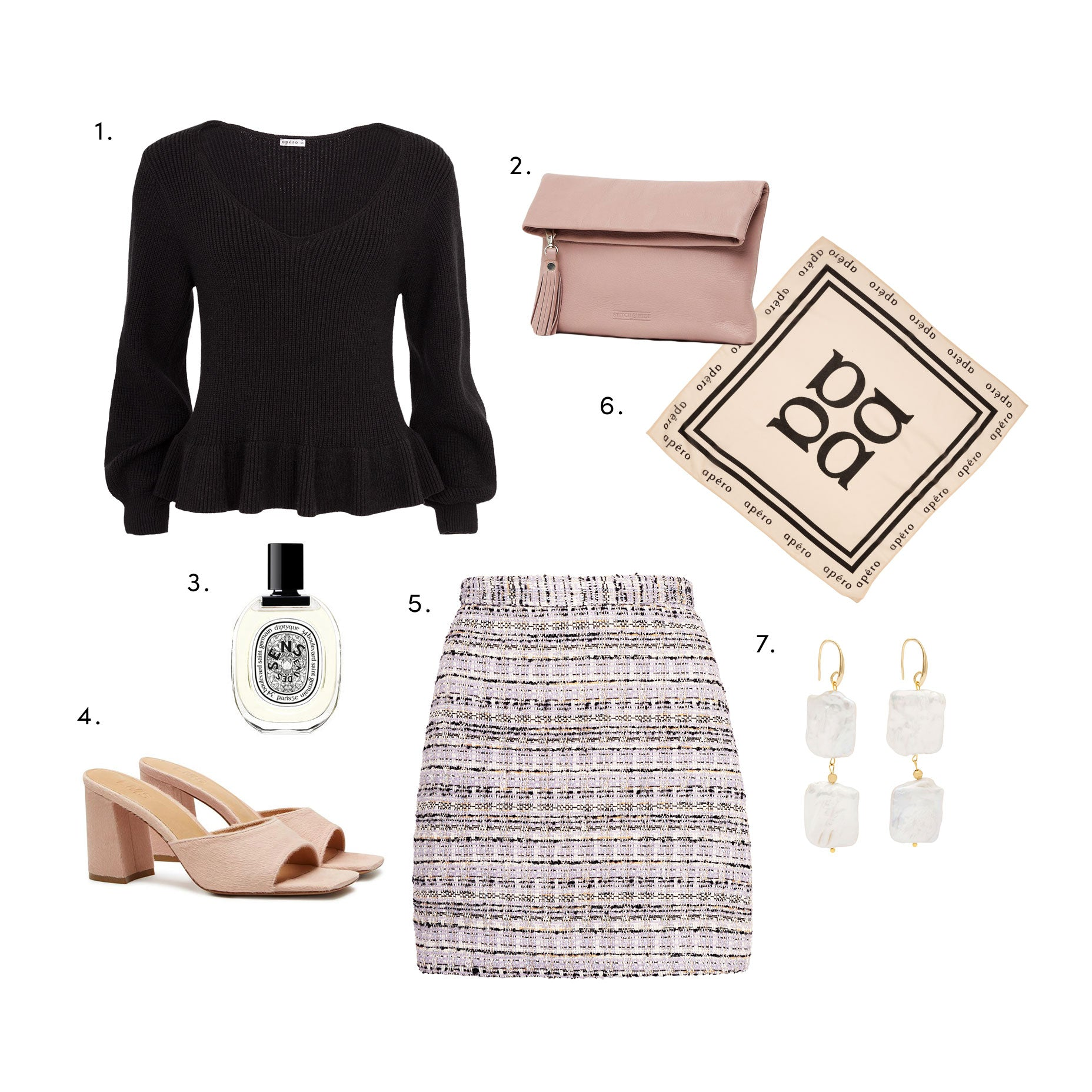 apero knit jumper, jacquard skirt and accessories