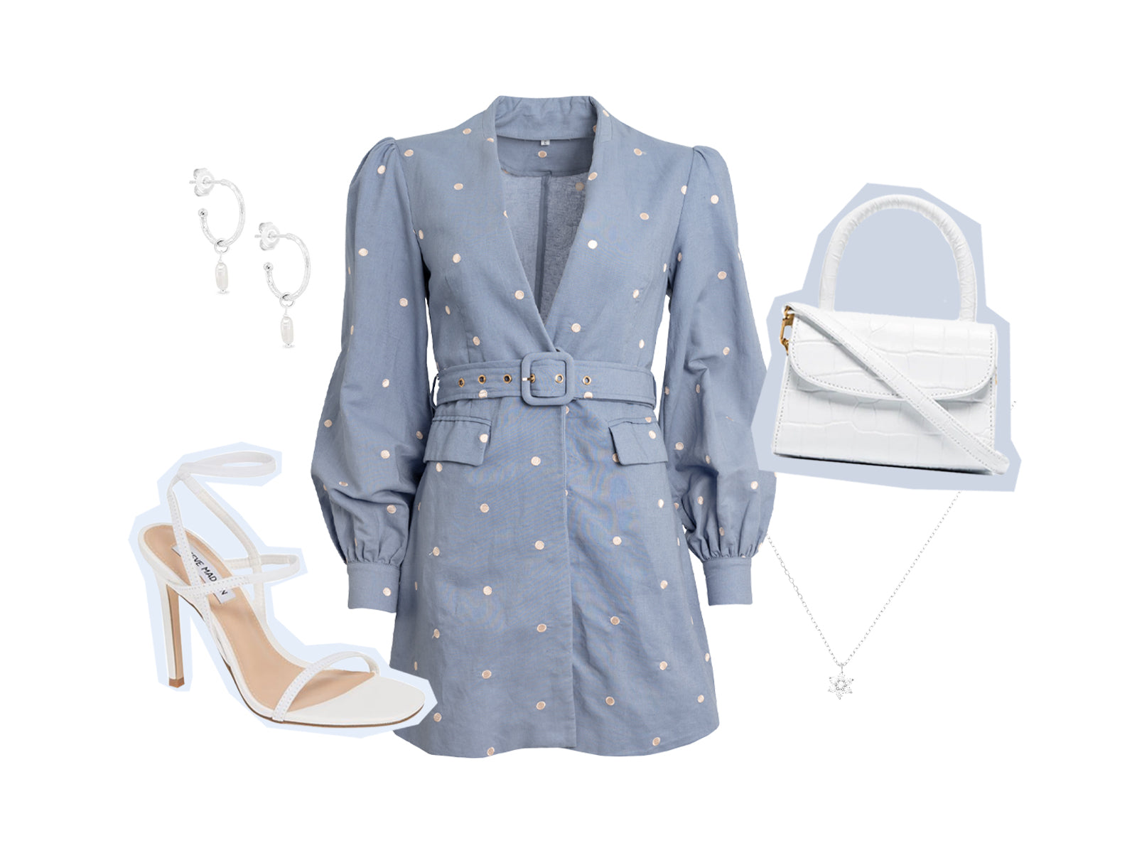 Gia Linen Party Mini Dress styled with heels and accessories
