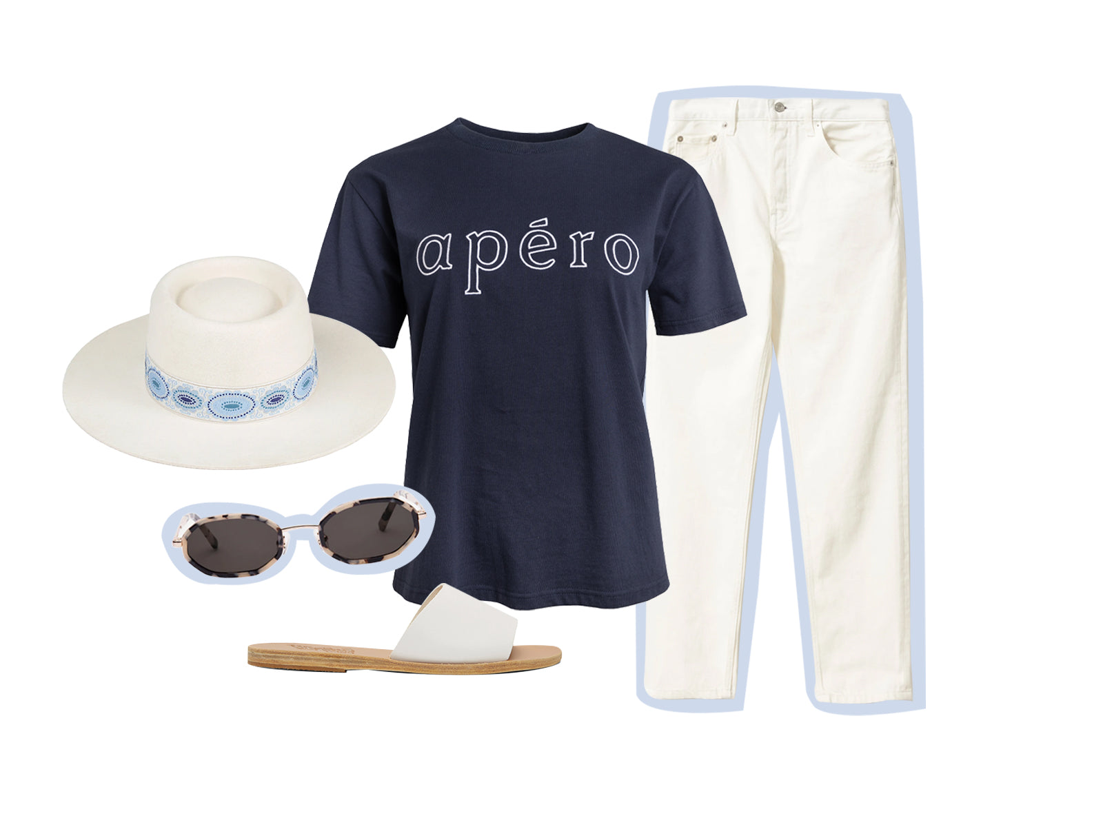 Navy Embroidered Outline Logo Tee styled with white jeans and accessories