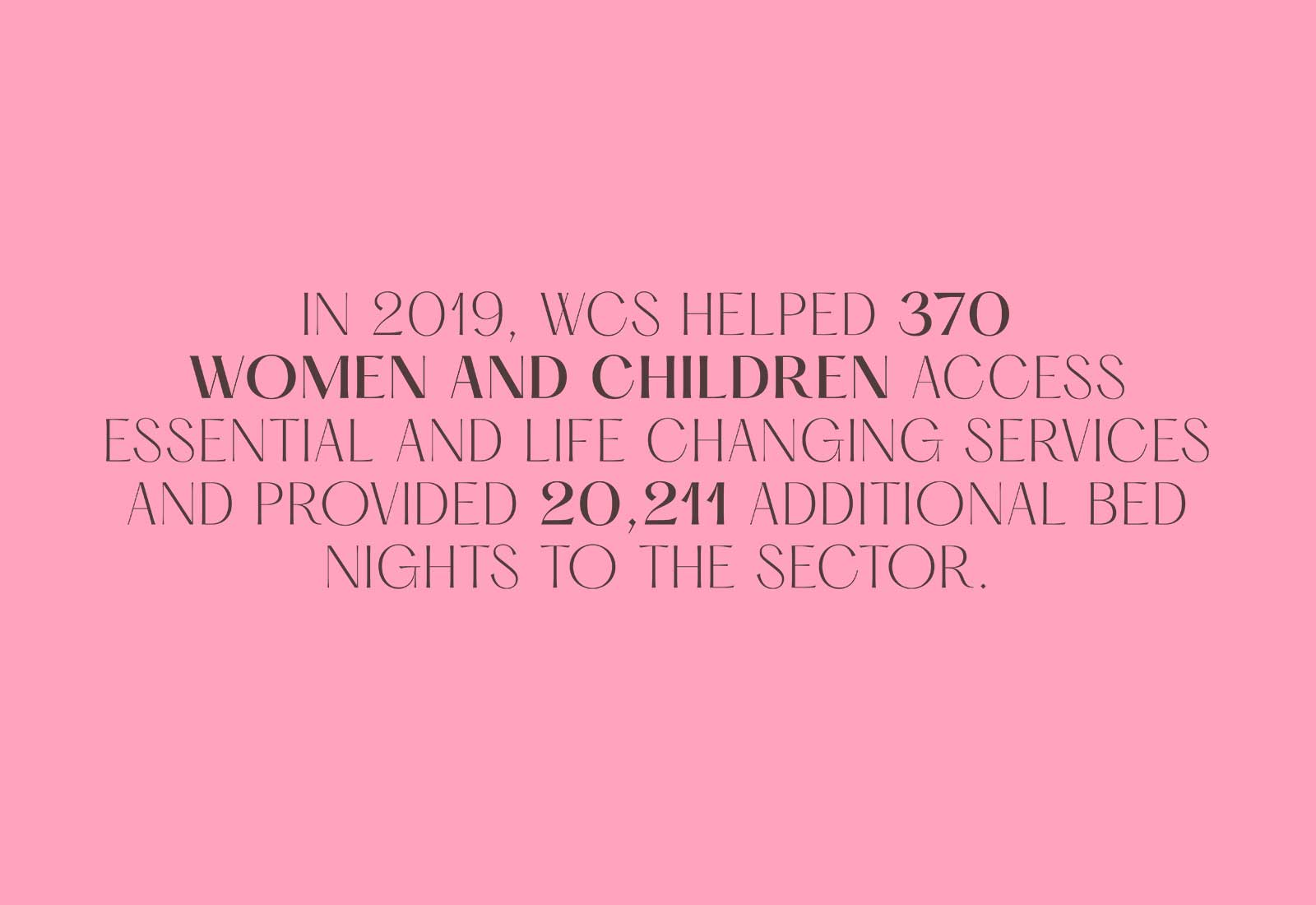 You've helped 370 women and children