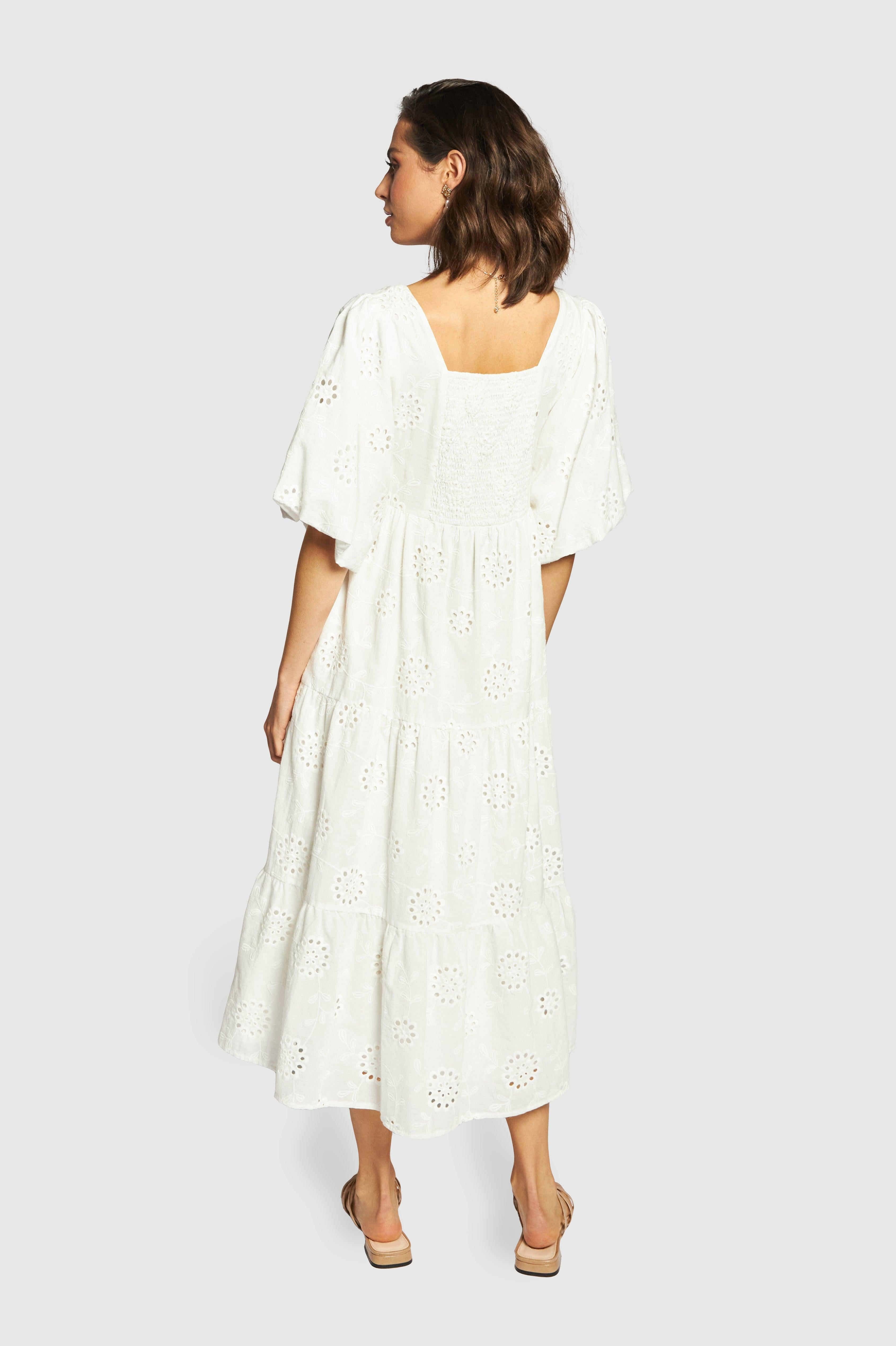 Joy Anglaise Midi Dress - White