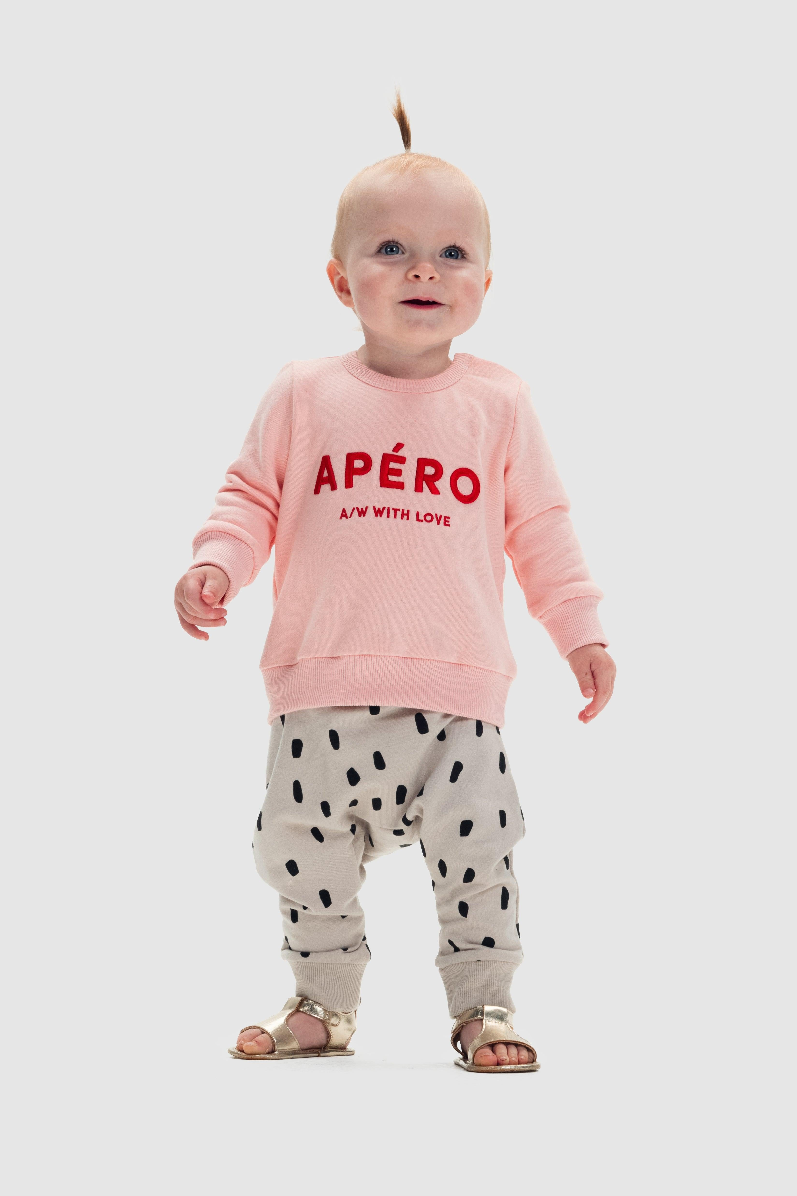 Little Apéro A/W with Love Embroidered Jumper - Baby Pink / Red