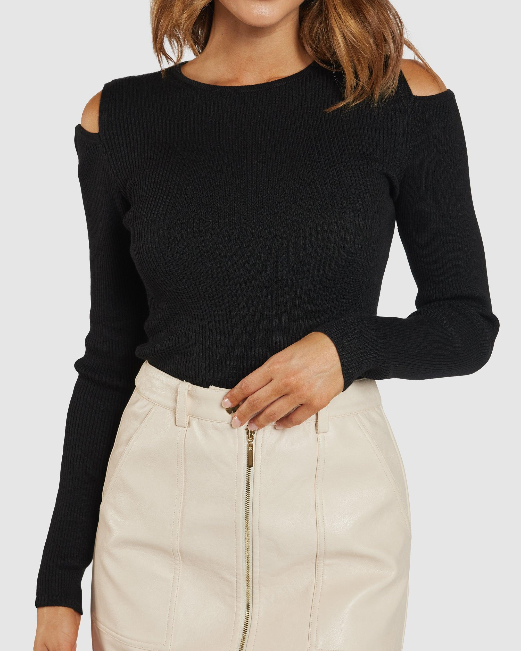 Rubi Ribbed Knit Top - Black