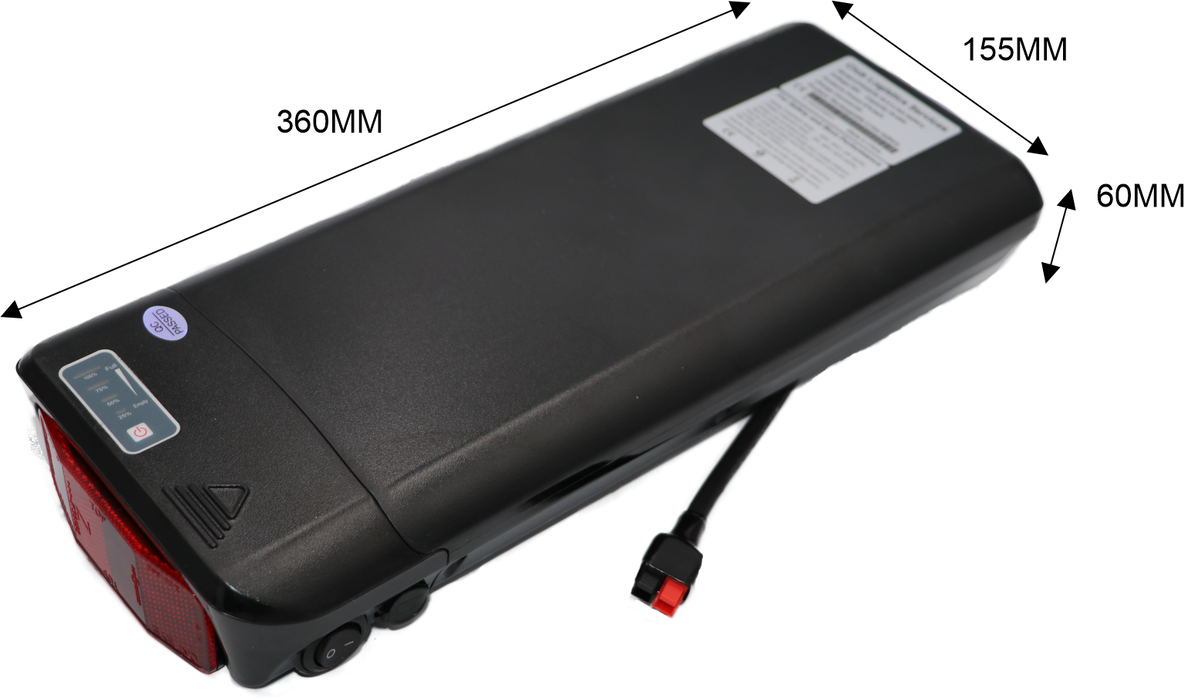 CPSSE36-10.4, 36 Volt 10.4AH , 374Wh, rear rack battery and bracket, LG M26 cells