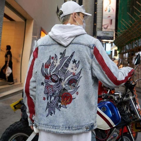 Dragon Embroidered Striped No-Collar Jean Jacket