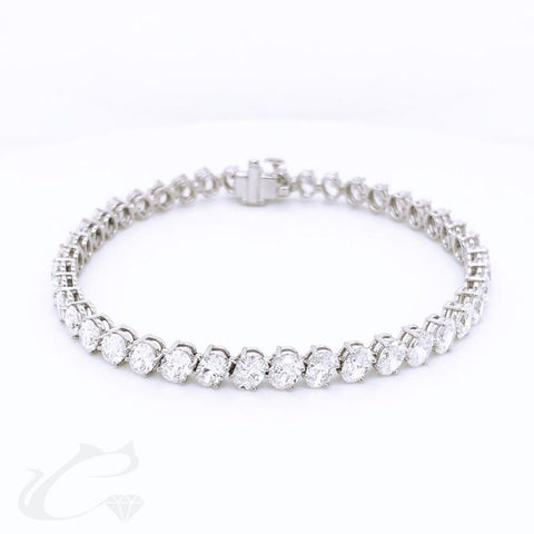 Slanted Oval Diamond Tennis Bracelet