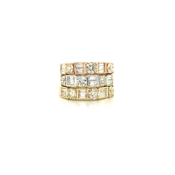 Baguette and Round Brilliant Diamond Stackable bands