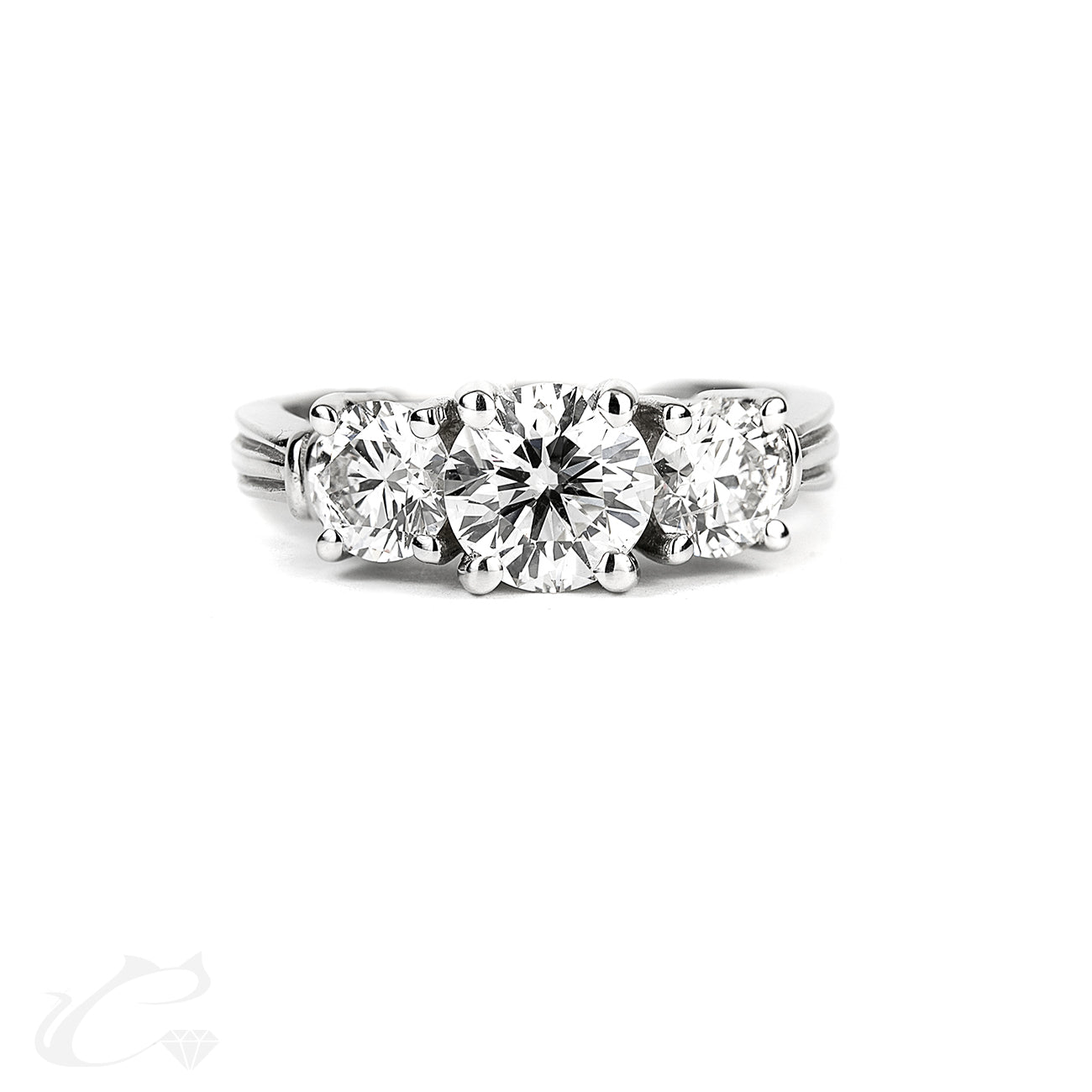 Past Present Future 3 Stone Diamond Ring