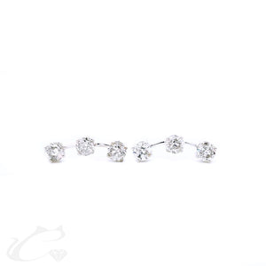3 Round Brilliant Diamond Earring Climbers