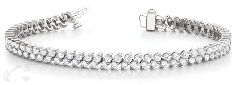 Round Brilliant Double Slanted Tennis Bracelet