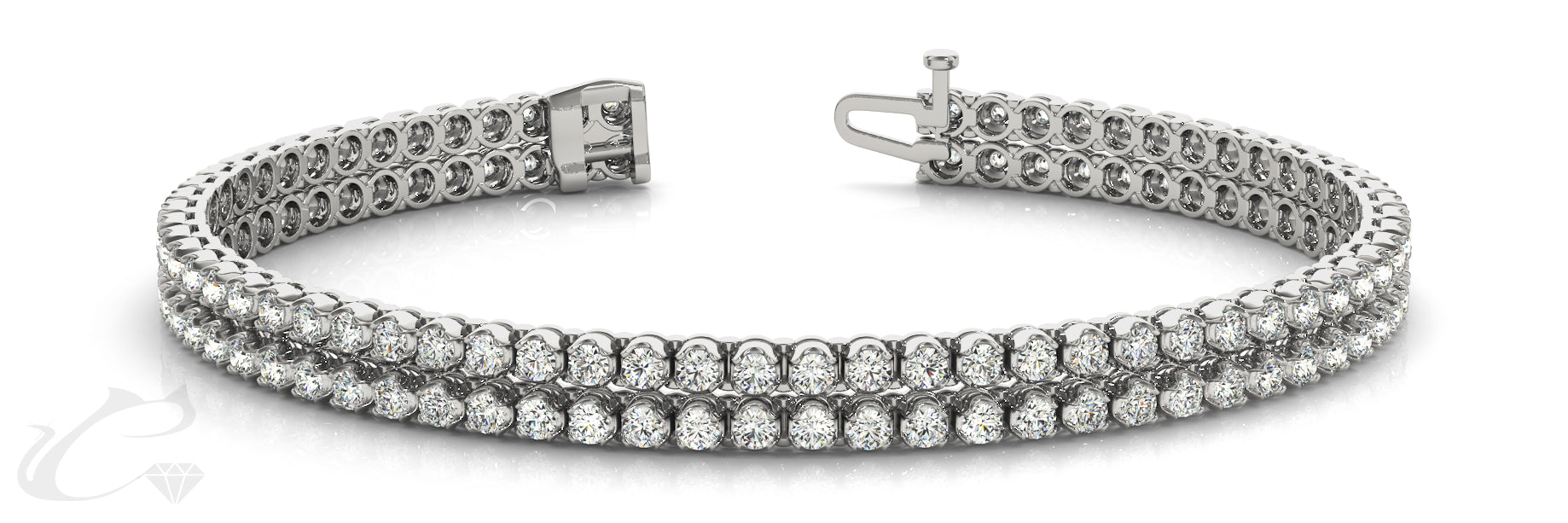 Double Row of Diamonds Tennis Bracelet