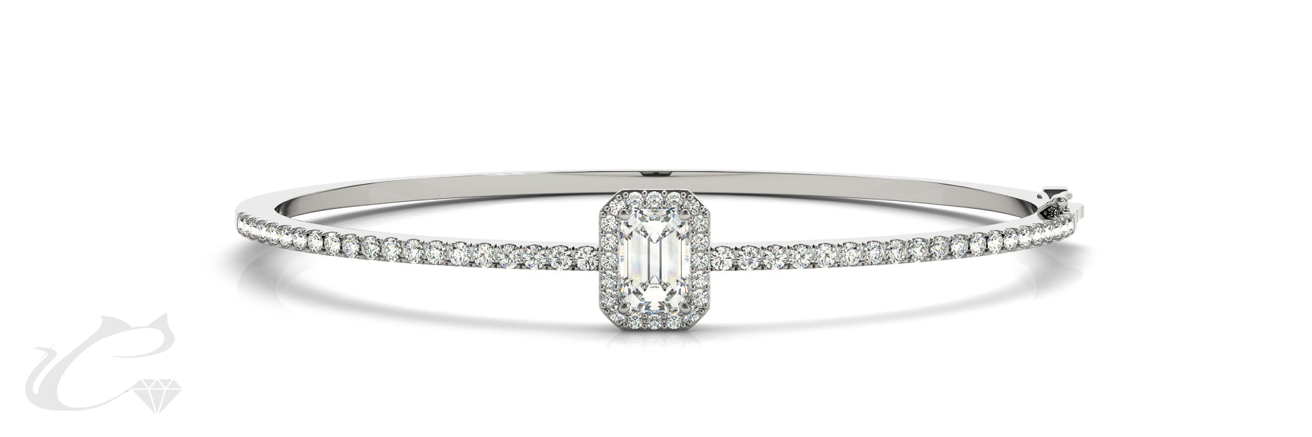 Emerald Cut Diamond Bangle