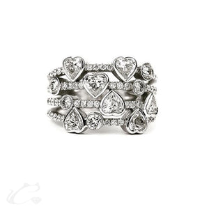 7 Hearts Statement Ring