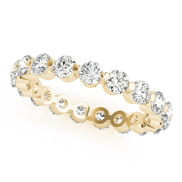 Single Shared Prong Round Brilliant Diamonds Eternity Band