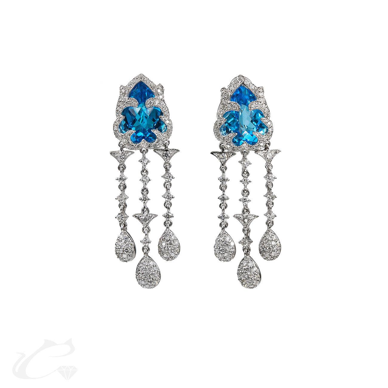 Blue Topaz & Diamond Dangling Earrings
