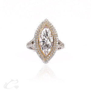 Double Halo Marquise Diamond Engagement Ring