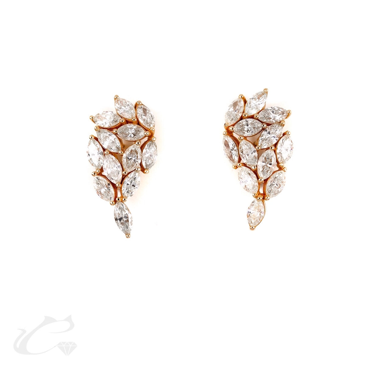 Marquise Diamond Droplet Earrings