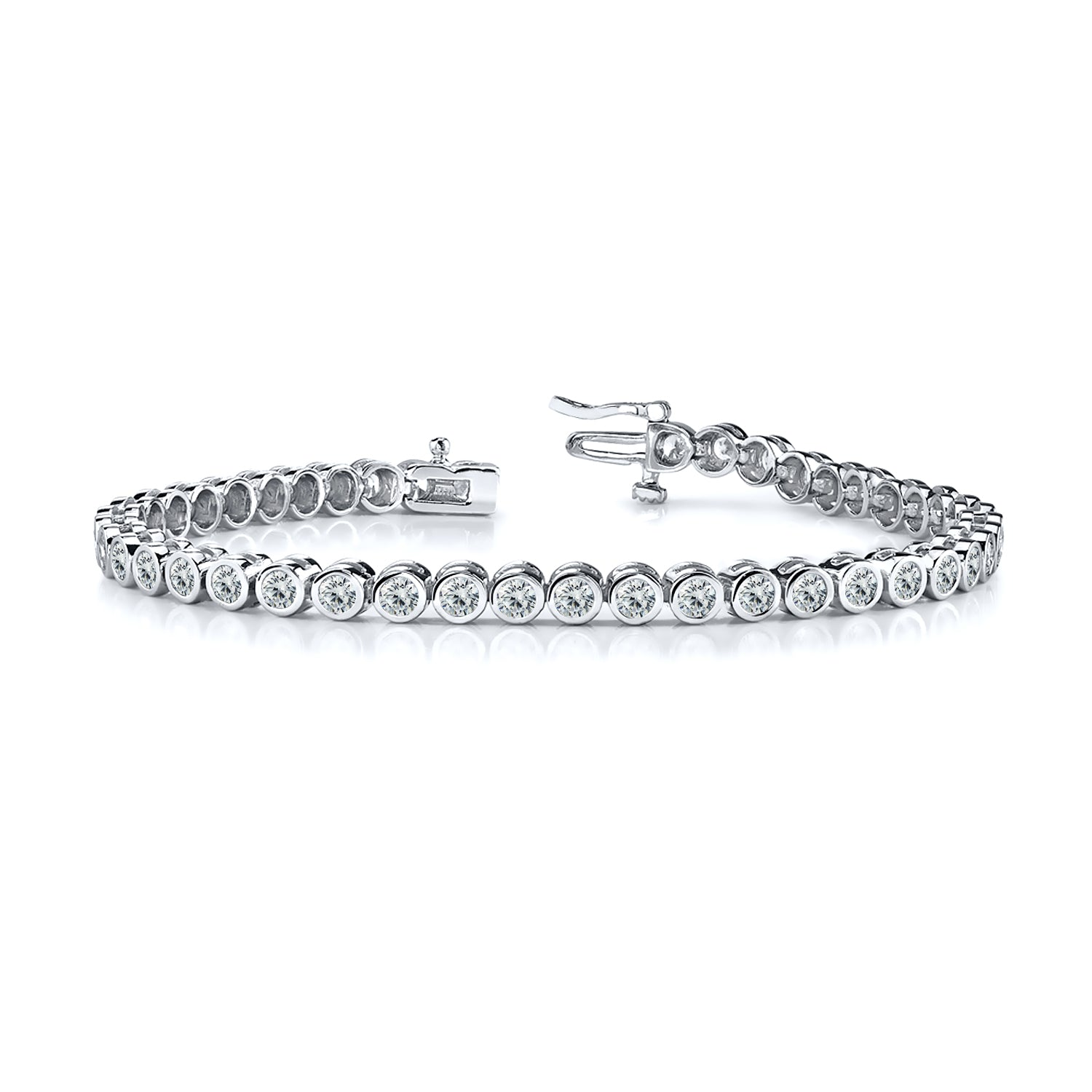 Round Brilliant Diamonds Bezel Set Tennis Bracelet