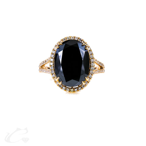 Black Diamond Oval Ring