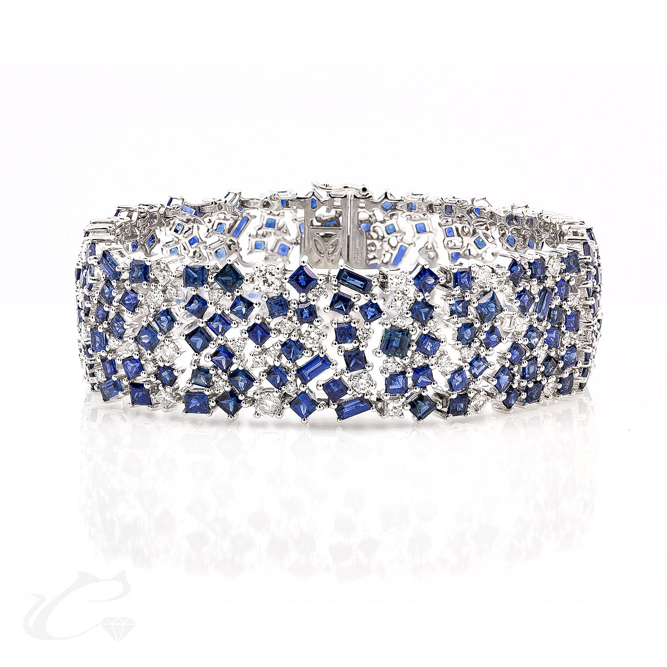 Blue Sapphire and White Diamond Cuff
