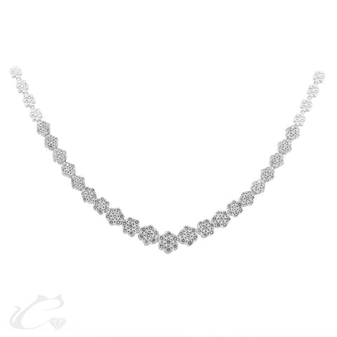 Cluster Diamond Riviera Necklace