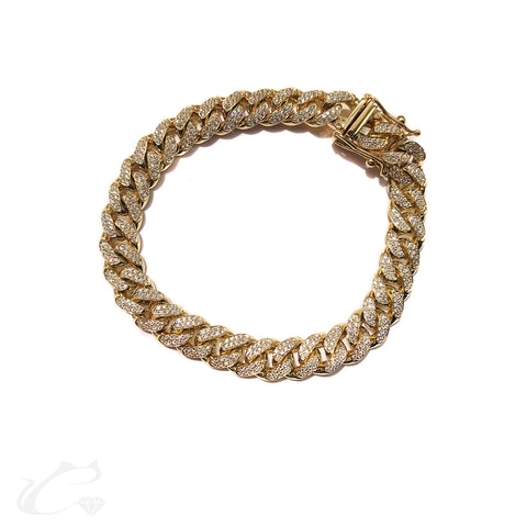 Cuban Link Diamond Bracelet in 14K Yellow Gold